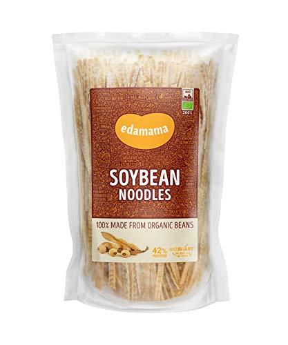 Edamama - Low-Carb High-Protein Pasta aus 100% Bio-Bohnen - Soybean Noodles Nudeln - Bio, Vegan, Glutenfrei, 42% Protein (6 x 200g)