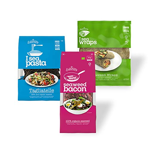 Seamore Probierset - Bacon, Pasta, Wraps - 410g | Algen Nudeln + veganer Speck + Wraps | Bio, Low Carb, Vegan, Nachhaltig