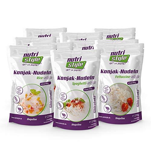 nutristyle Shirataki Konjak Nudeln, Mischkarton, 10 x 270g (10x200g ATG), Pasta-Alternative mit nur 6 kcal, ideal für eine kalorienarme Ernährung geeignet - Angebotspreis