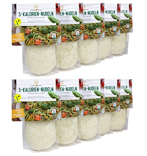 10er Packung   5-Kalorien-Nudeln 250g   Algen Nudeln   Glutenfrei & Vegan   Low Carb   Schultz und König