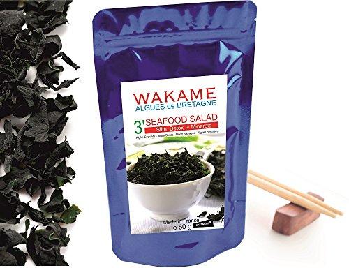 Wakame Algen getrockneter Instant 3' Algen 100% Wakame-Flocken Premium Quality -wiederverschließbaren Beutel, bleumarine Bretania-France